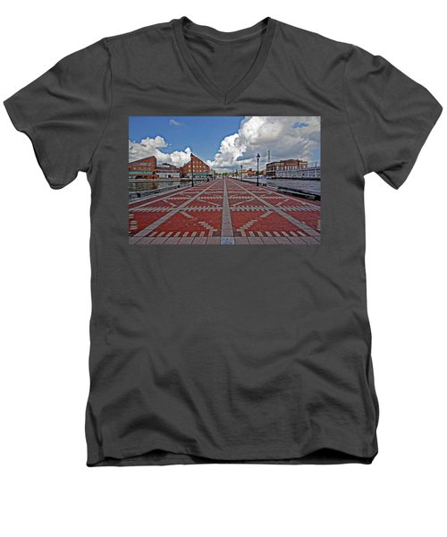 Men's V-Neck T-Shirt featuring the photograph Fells Point Pier by Suzanne Stout
