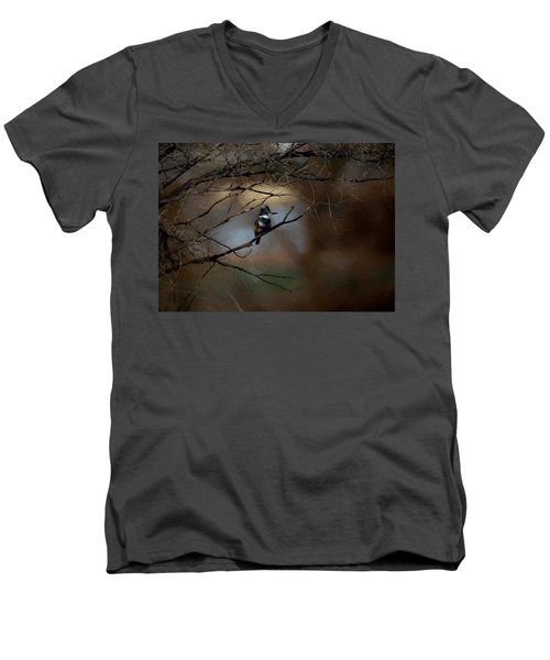 Men's V-Neck T-Shirt featuring the digital art Female Belted Kingfisher 3 by Ernie Echols