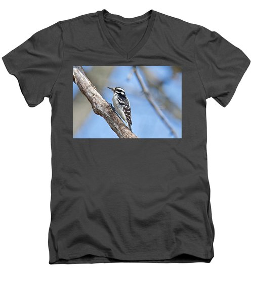 Men's V-Neck T-Shirt featuring the photograph Female Downey Woodpecker 1104  by Michael Peychich