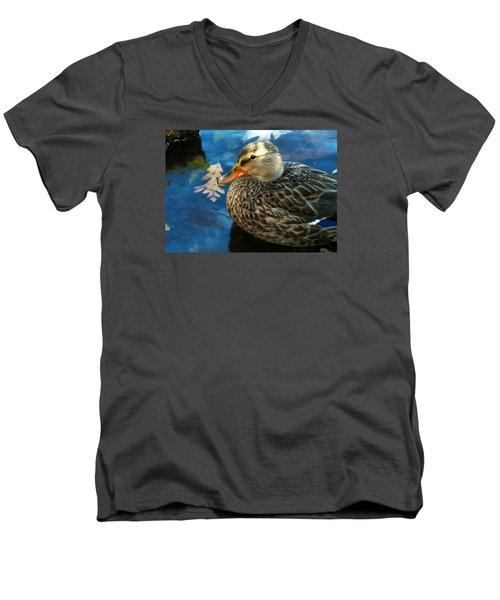 Female Mallard Duck In The Fox River Men's V-Neck T-Shirt