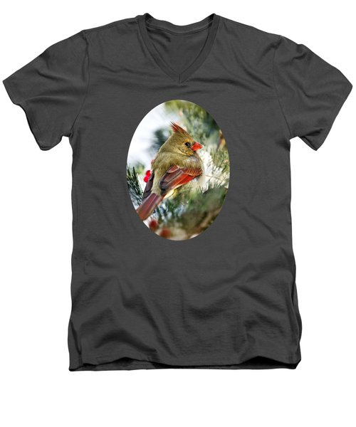 Female Northern Cardinal Men's V-Neck T-Shirt