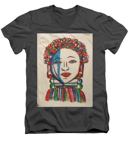 Bondo Mask T Shirt - Sierra Leone Men's V-Neck T-Shirt by Mudiama Kammoh