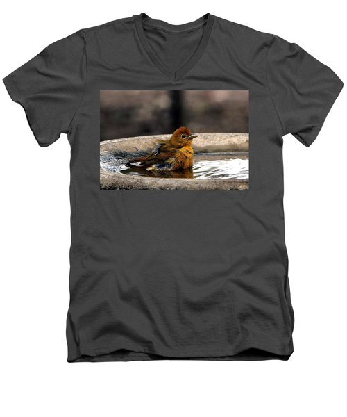 Female Summer Tanager In Bird Bath Men's V-Neck T-Shirt