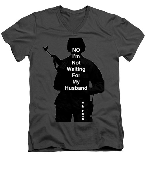 Men's V-Neck T-Shirt featuring the photograph Female Veteran by Melany Sarafis