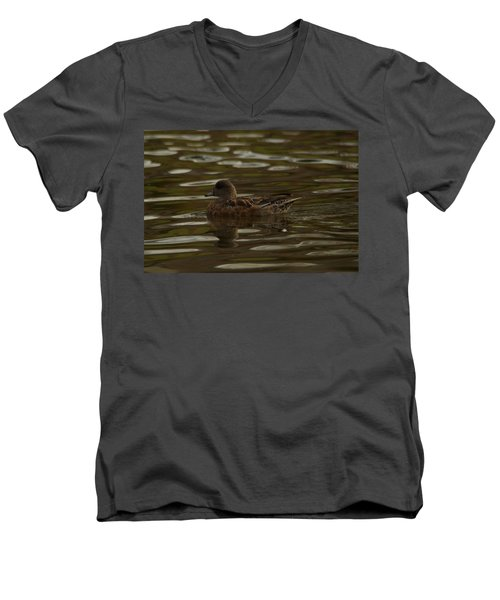 Men's V-Neck T-Shirt featuring the photograph Female Wigeon by Jeff Swan