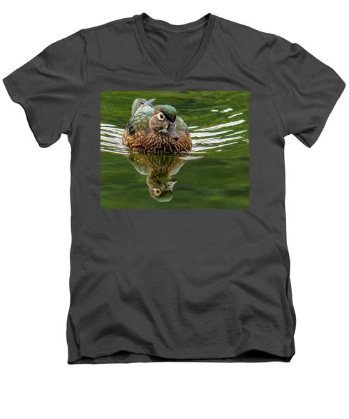 Men's V-Neck T-Shirt featuring the photograph Female Wood Duck by Jean Noren