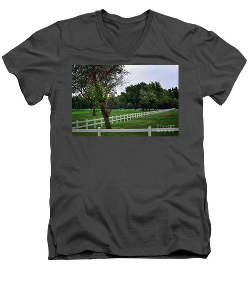 Fence On The Wooded Green Men's V-Neck T-Shirt