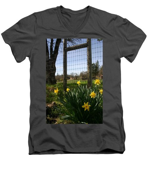 Men's V-Neck T-Shirt featuring the photograph Fence With A View by Marie Neder