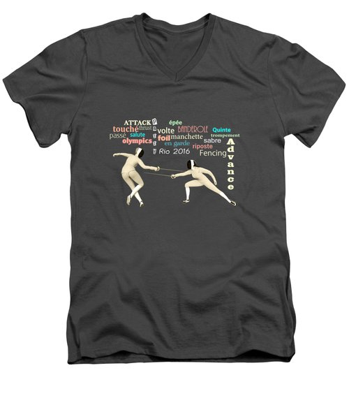 Men's V-Neck T-Shirt featuring the digital art Fencing Duo by Methune Hively