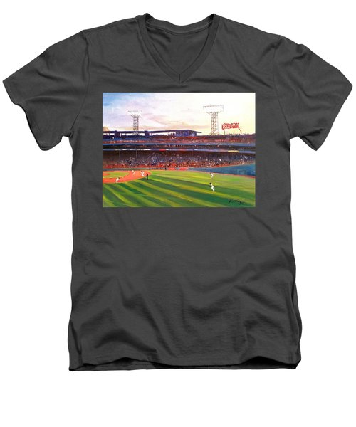 Men's V-Neck T-Shirt featuring the painting Fenway Park by Rose Wang
