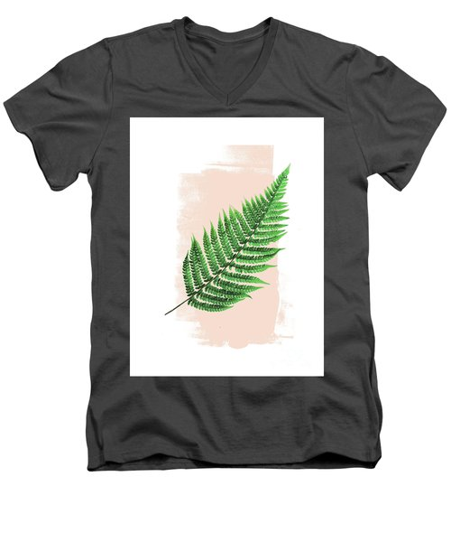Fern Leaf On Pink Men's V-Neck T-Shirt