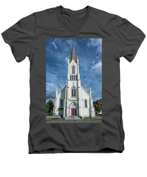 Men's V-Neck T-Shirt featuring the photograph Ferndale Catholic Church by Greg Nyquist