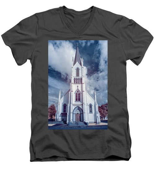 Ferndale Church In Infrared Men's V-Neck T-Shirt by Greg Nyquist