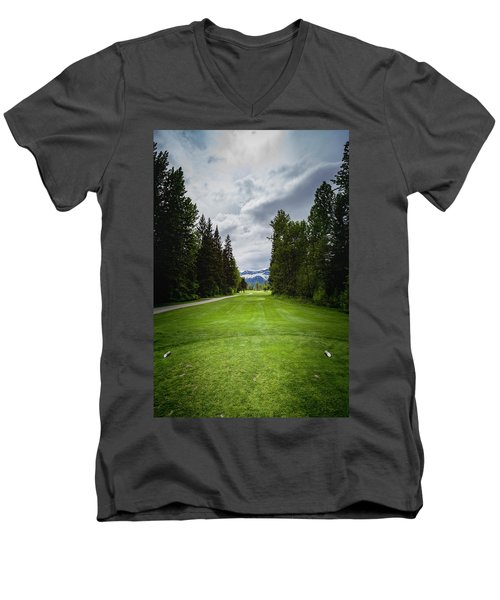 Men's V-Neck T-Shirt featuring the photograph Fernie Tee Box by Darcy Michaelchuk