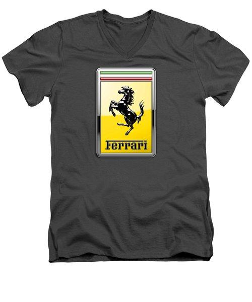 Ferrari 3d Badge-hood Ornament On Red Men's V-Neck T-Shirt by Serge Averbukh