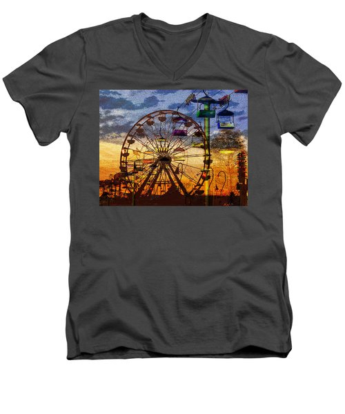 Men's V-Neck T-Shirt featuring the digital art Ferris At Dusk by David Lee Thompson