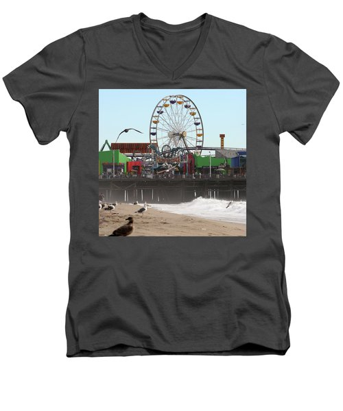 Ferris Wheel At Santa Monica Pier Men's V-Neck T-Shirt