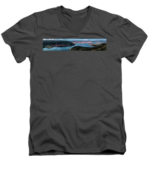 Ferrol's Estuary Panorama From La Bailadora Galicia Spain Men's V-Neck T-Shirt by Pablo Avanzini
