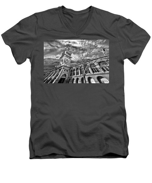 Ferry Building Black  White Men's V-Neck T-Shirt
