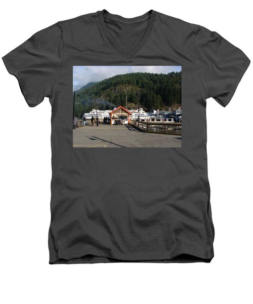 Men's V-Neck T-Shirt featuring the painting Ferry Landed At Horseshoe Bay by Rod Jellison