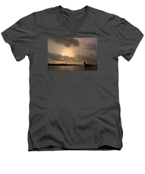 Ferry On The Way To Fort Kochi Men's V-Neck T-Shirt by Jennifer Mazzucco