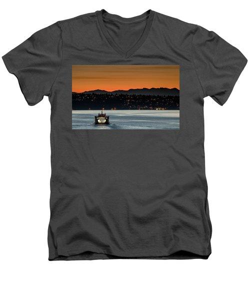 Ferry Sealth At Dawn Men's V-Neck T-Shirt by E Faithe Lester