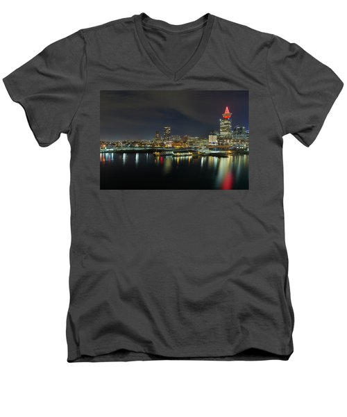 Ferry Terminal In Vancouver Bc At Night Men's V-Neck T-Shirt