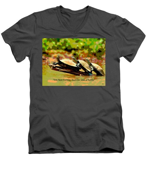Men's V-Neck T-Shirt featuring the mixed media Fertile Turtle by Charles Shoup
