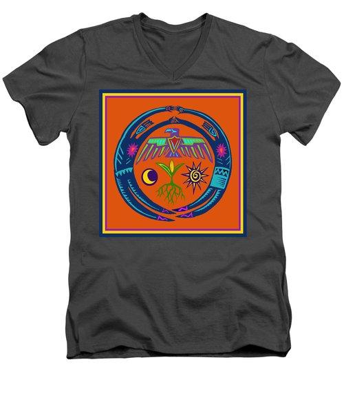 Men's V-Neck T-Shirt featuring the digital art Fertility Dance by Vagabond Folk Art - Virginia Vivier
