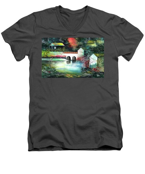 Men's V-Neck T-Shirt featuring the painting Festival Of Lights by Anil Nene