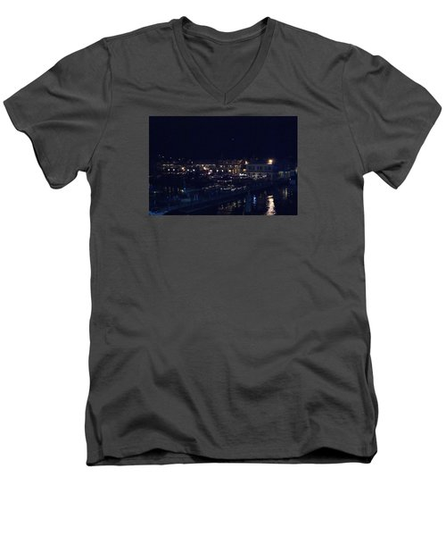 Men's V-Neck T-Shirt featuring the photograph Festive Harbor Lights by Margie Avellino
