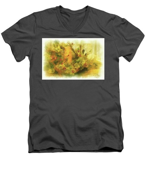 Men's V-Neck T-Shirt featuring the photograph Festive Holiday Candle by Lois Bryan
