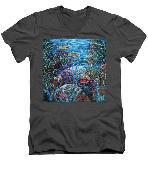 Festive Reef Men's V-Neck T-Shirt