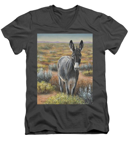 Men's V-Neck T-Shirt featuring the painting Festus by Kim Lockman