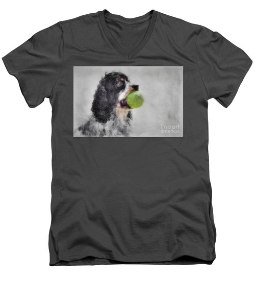 Men's V-Neck T-Shirt featuring the photograph Fetching Cocker Spaniel  by Benanne Stiens