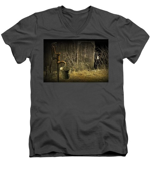 Fetching Water From The Old Pump Men's V-Neck T-Shirt by Randall Nyhof