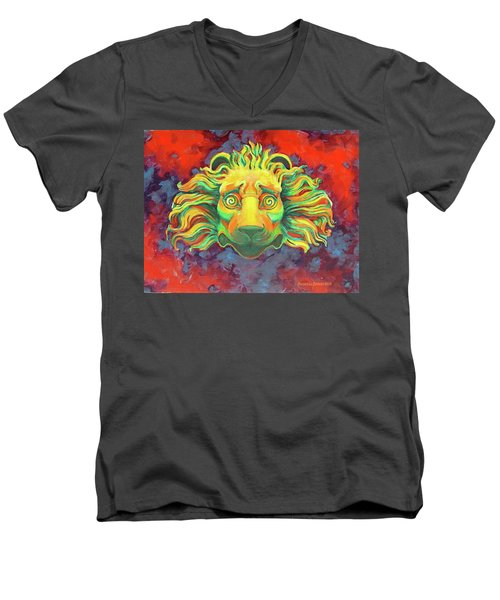 Men's V-Neck T-Shirt featuring the painting Fidardo's Lion by Andrew Danielsen