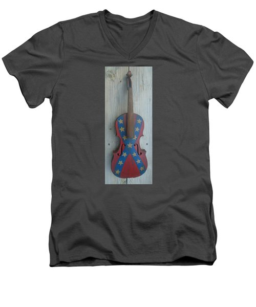 Fiddle Rebel Flag Men's V-Neck T-Shirt