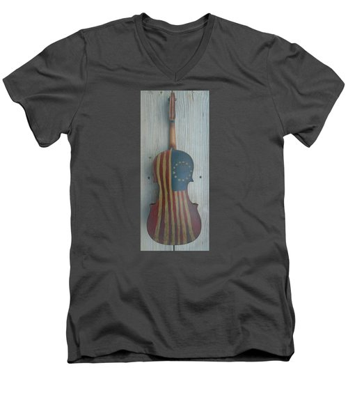 Fiddle Thirteen Star Flag Men's V-Neck T-Shirt