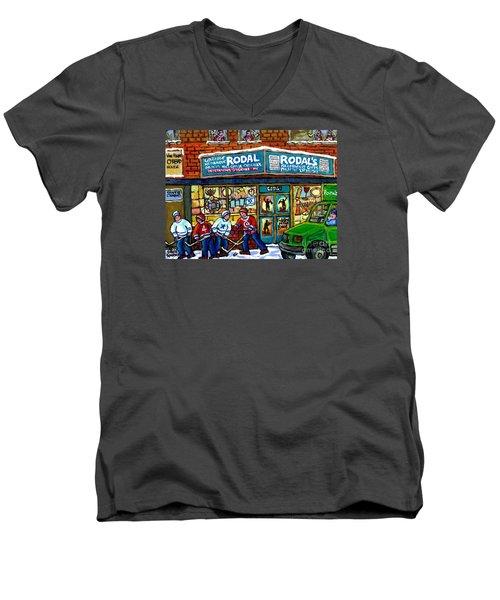 Fiddler On The Roof Painting Canadian Art Jewish Montreal Memories Rodal Gift Shop Van Horne Hockey  Men's V-Neck T-Shirt