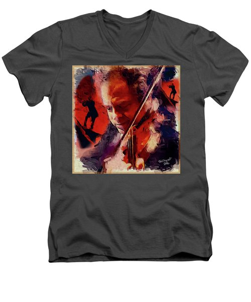 Men's V-Neck T-Shirt featuring the painting Fiddler by Ted Azriel