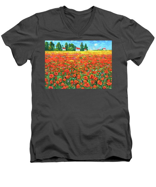 Field And Poppies Men's V-Neck T-Shirt by Dmitry Spiros