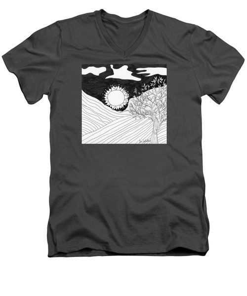Men's V-Neck T-Shirt featuring the painting Field Day by Lou Belcher