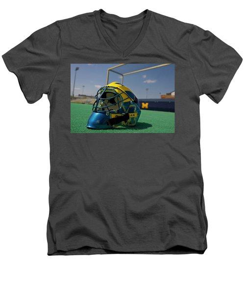 Field Hockey Helmet Men's V-Neck T-Shirt