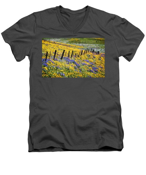Field Of Gold And Purple Men's V-Neck T-Shirt