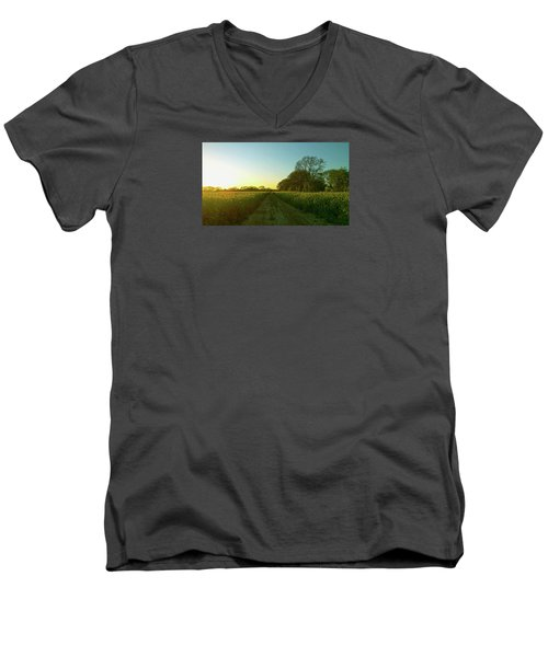 Men's V-Neck T-Shirt featuring the photograph Field Of Gold by Anne Kotan