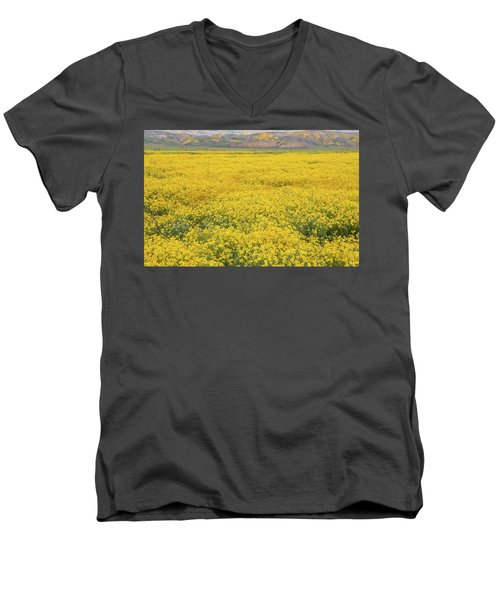 Men's V-Neck T-Shirt featuring the photograph Field Of Goldfields by Marc Crumpler