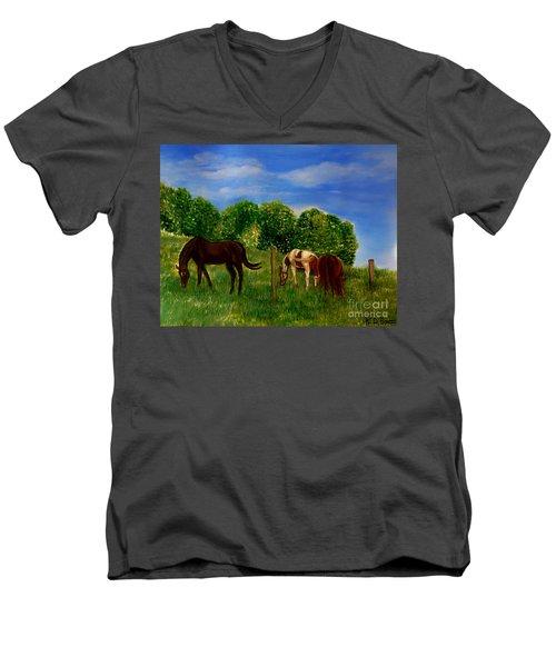 Field Of Horses' Dreams Men's V-Neck T-Shirt