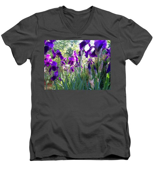 Men's V-Neck T-Shirt featuring the digital art Field Of Irises by Barbara S Nickerson
