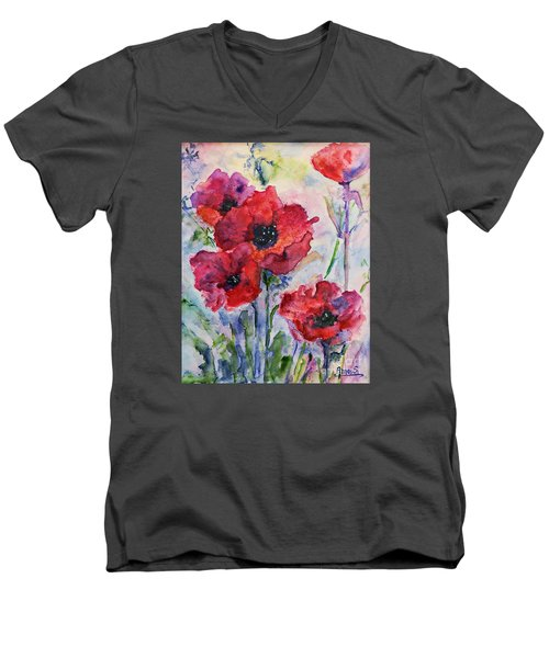 Field Of Red Poppies Watercolor Men's V-Neck T-Shirt by AmaS Art